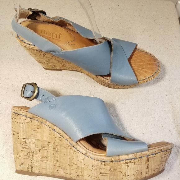 2a3303cee210 Born Emmy Blue Leather Platform Slingback Sandal